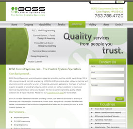Boss Control Systems - Design and WordPress Build